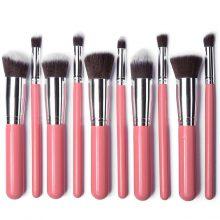 10pcs Pink Silver Kabuki brush