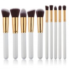 10 pcs white gold kabuki brush set