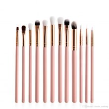 12 Pcs Professional Pink Gold Brush Set Small